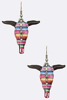 Tribal Print Cow Skull Earrings
