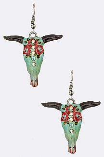 Rose Print Cow Skull Earrings