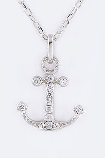 CZ & Sterling Silver Anchor Pendant Necklace