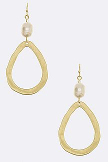 Pearl & Metal Teardrop Hoop Earrings