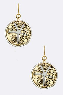 Paved Shell Sand Dollar Earrings