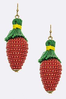 Chain & Yarn Strawberry Earrings