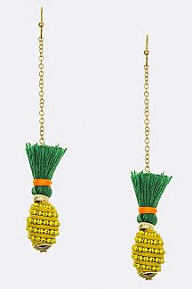 Chain & Yarn Pineapple Earrings