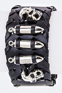 Laced Skull & Bullet Leather Cuff