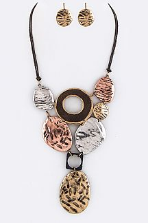 Mix Texture Statement Necklace Set