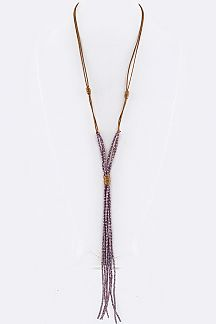 Beaded Tassel Cording Long Necklace