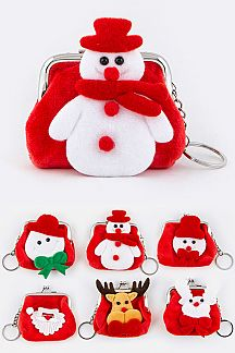 Plushy X'mas Character Coin Purses Set
