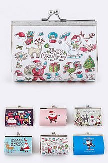 Assorted X'mas Print Coin Purses Set