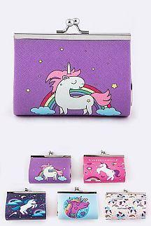 Assorted Unicorn Print Coin Purses Set
