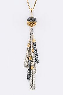 Chain Ball & Tassels Necklace