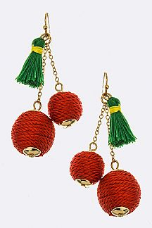 Tassel & Yarn Ball Cherry Earrings
