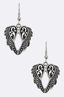 Filigree Metal Wing Earrings