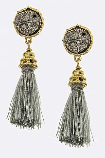 Druzy & Tassel Earrings