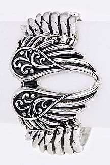 Embossed Metal Wings Stretch Bracelet