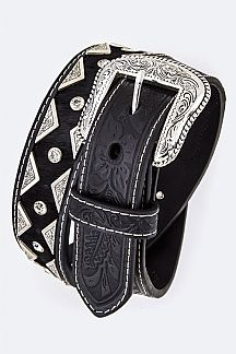 Embossed Leather Western Men's Belt
