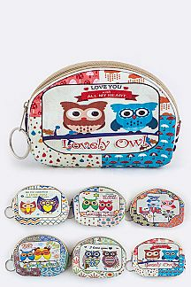 Assorted Lovely Owl Coin Purses Set