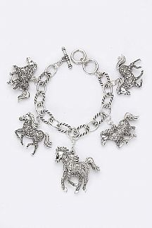 Mix Horse Charms Chain Bracelet
