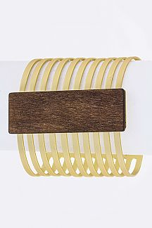 Wooden Tag Cutout Metal Cuff