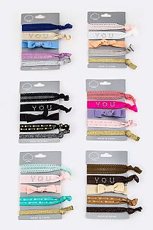 Lace & Lurex Hair Ties Set