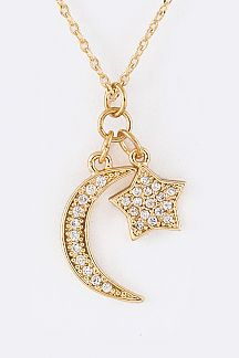 Pave CZ Star & Crescent Charms Necklace
