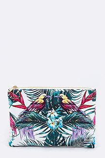 Tropical Bird Print Pouch