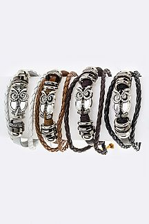 Owl Charm Layered Braid Leather Bracelets Set
