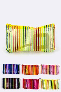 Striped Mesh Pouches Set