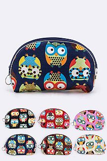 Owl Print Pouches Set