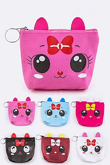 Comic Kitty Coin Purses Set