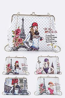 Paris Theme Large Clutch