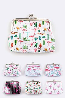 Assorted Flamingo Print Coin Purses