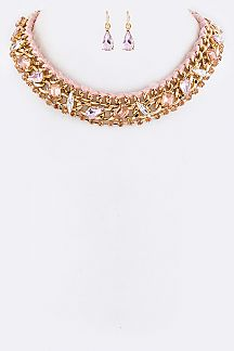 Mix Crystals Collar Necklace Set