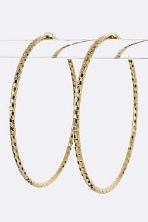Diamond Cut Hoop Clip-On Earrings (L)