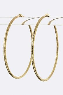 Textured Hoop Clip-On Earrings (L)