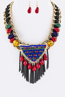 Mix Beads & Fringe Chains Statement Necklace Set