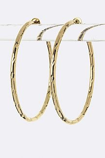 Diamond Cut Hoop Clip-On Earrings (M)