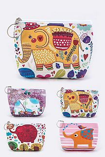 Assorted Elephant Print Mini Pouches Set
