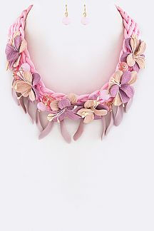 Braided Flower Necklace Set
