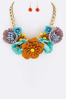 Bead Flowers Statement Necklace Set