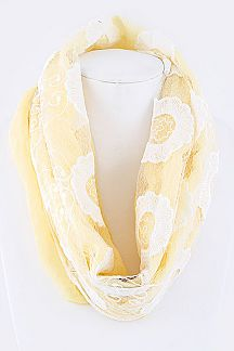 Lace Overlay Fashion Infinity Scarf