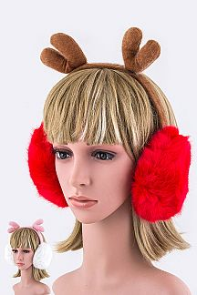 Plushy Reindeer Ear Muffs