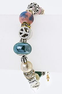 Mix Beads & Charms Stretch Bracelet