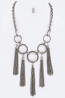 Linked Hoops & Tassels Statement Necklace Set