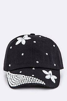 Crystal Flower Embelished Fashion Cotton Cap