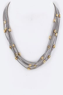 Metal Beads Stationed Layer Necklace