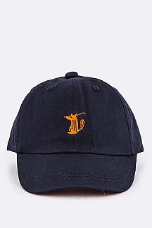 Kids Sized Fox Embroidery Cap