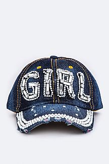 Crystal GIRL Embelished Fashion Denim Cap