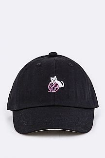 Kids Sized Kitty Embroidery Cap