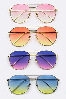 Gradient Color Lens Oval Sunglasses