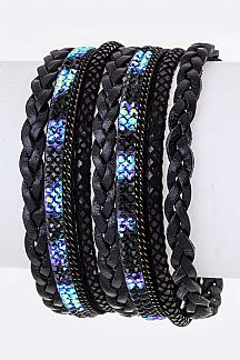 Crystals & Braiding Leather Layer Cuff